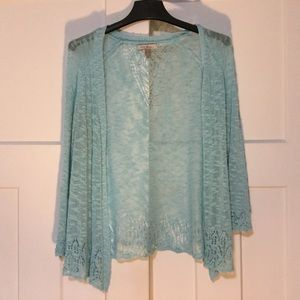 Blue Sheer Lace Sweater Cardigan